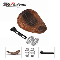 Motorcycle Retro Brown Black Crocodile Leather Solo Seat 3 Spring Bracket For Custom Chopper Bobber Leather