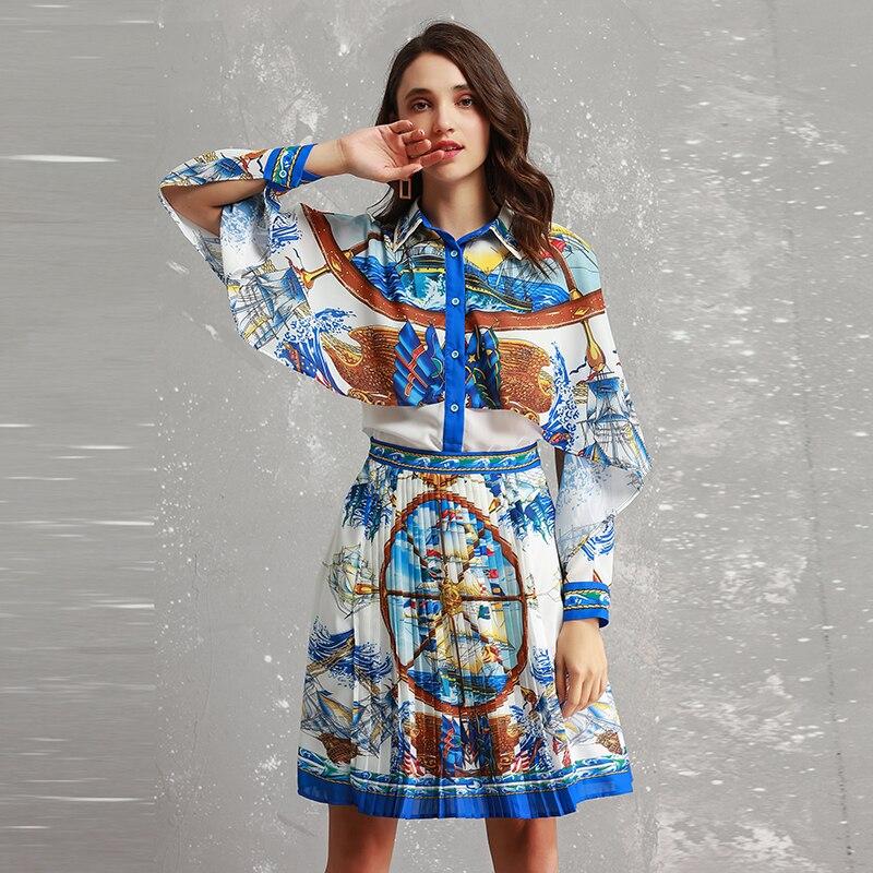 Jupes Ensembles Collar Turn Haute Imprimer Pièces Shirts Femmes down souris 2019 Manches Printemps 2 Plissées Chauve Costumes Assez Qualité fWnRXag