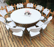 HDPE plastic folding dining table round for hotels restaurant home and outdoor 152D