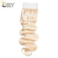 Doozy couleur 613 russe blonde vague de corps remy de cheveux humains dentelle fermeture