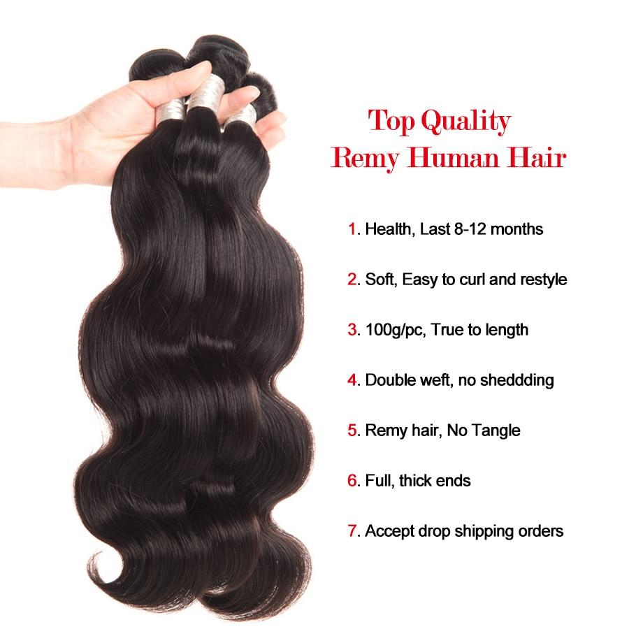RXY perujski snopi las snopi za telo valovito barvo 100% remi - Človeški lasje (za črne) - Fotografija 5