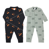 New Autumn Winter Tiny Cottons2018 Baby Boys Romper Newborn Kids Cherry Fish Chips Printed Rompers Infant