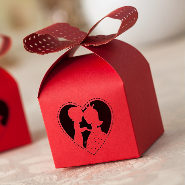 10 Pcs Red Casamento Wedding Mariage Candy Gift Package Quadrate Box
