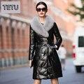 2016 Mulheres de Inverno Longo Casaco De Couro Genuíno da Pele De Carneiro + Grande Gola de Pele De Raposa + 6XL Jaqueta Plus Size Outerwear 1187B