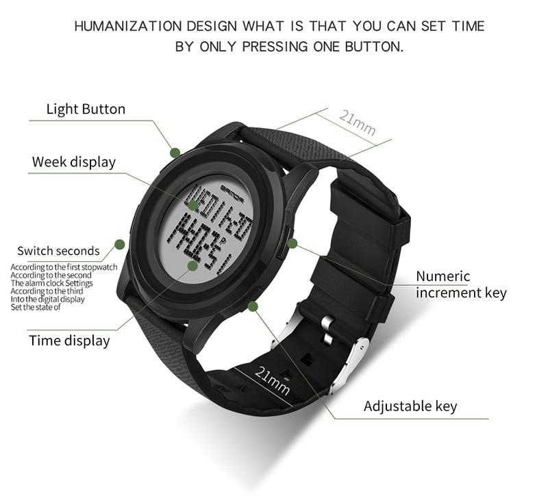 2018 Sanda Brand Sport Watch Men Luxury Electronic LED Digital Wrist Watches For Men Male 9mm Super Slim Clock Relogio Masculi 8
