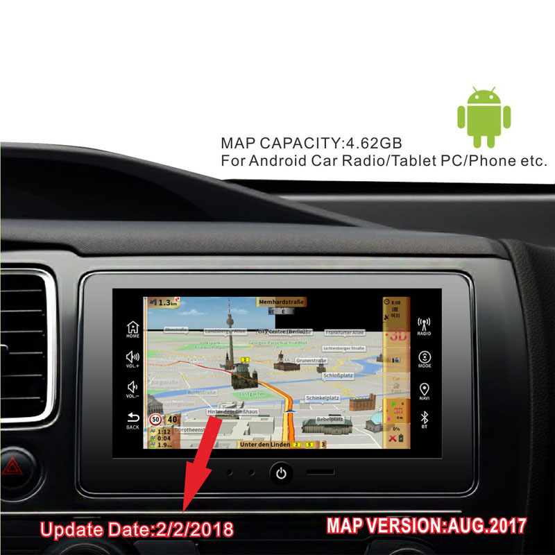 GPS MAP 2019 Version With 16G Card Russia/Spain/France/Germany/Italy Whole Europe 49 Countries For Android Device Car Navigation