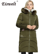 Thick Ukraine Winter Women's Faux Fur Jacket Coat Down Military Female Parkas Padded Style Medium-long Hooded Outerwear & Coats