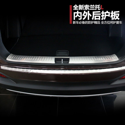 ФОТО Stainless Steel Suitable for KIA Sorento 2015 2016 2017 Rear Bumper guard protector footplate Door Sill Plate Scuff