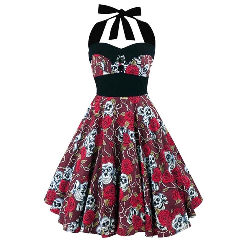 Plus Size Women Floral Skull Print Off Shoulder Sexy Halter Dress Retro Vintage Hepburn Style 2018 New Pin Up Rockabilly Vestido 1
