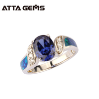 Tanzanite And Opal 925 Sterling Silver Ring 2.65 Carats Created Tanzanite Silver Ring For Christmas Gift Family Members Gift