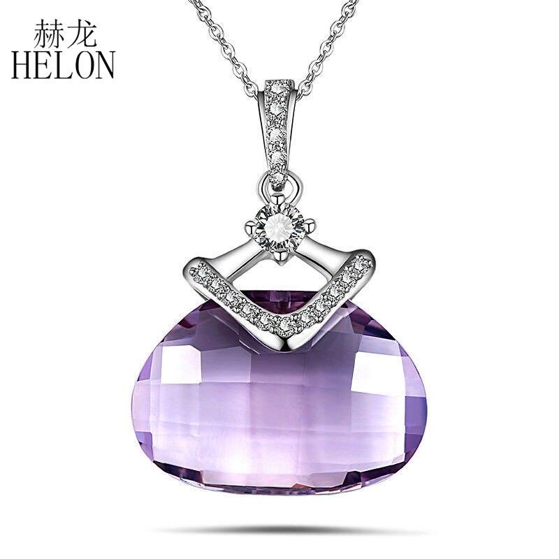 где купить HELON 925 Sterling Silver Genuine Amethyst Gemstone & AAA Graded Cubic Zirconia Engagement Wedding Chain Pendant Fine Jewelry дешево