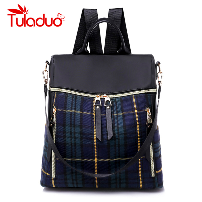 Women Oxford Backpacks Waterproof School Bags for Women 2018 Plaid Female Shoulder Bags Famous Brand Casual Travel Backpack Hot findpop mochilas mujer 2017 famous brand backpack women waterproof nylon school bags student backpacks fashion casual trave bags