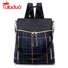 dc24f443fc94 Women Oxford Backpacks Waterproof School Bags for Women 2018 Plaid Female  Shoulder Bags Famous Brand Casual Travel Backpack Hot