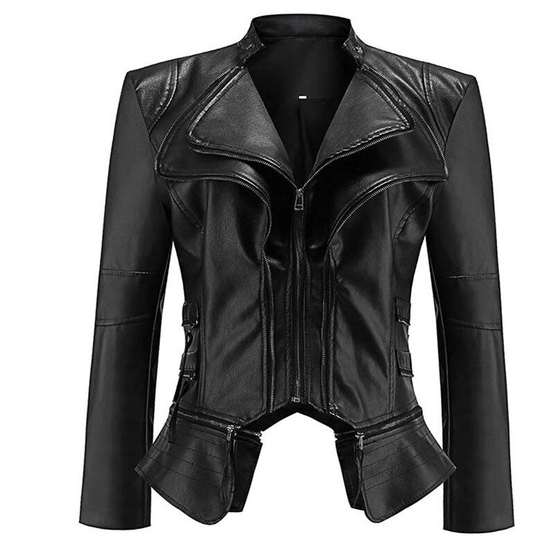 Gothic faux leren Jas Vrouwen Mode Black faux lederen jassen Bovenkleding Jas