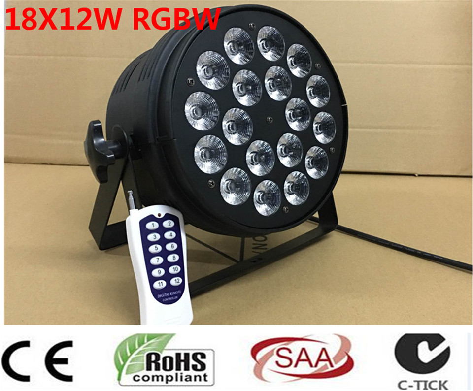 Wireless remote control 18x12W RGBW 4in1 LED Par Can Par64 led spotlight dj projector wash lighting stage light light 4pcs/lot