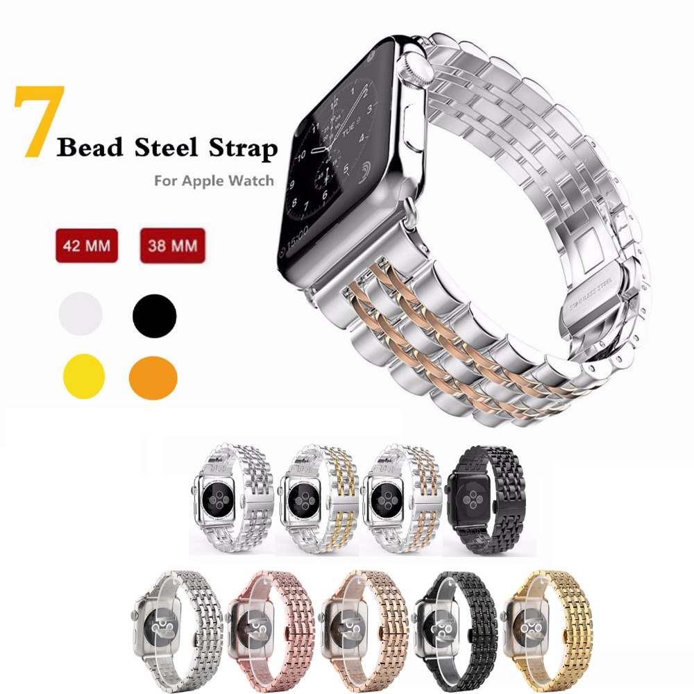 CRESTED 316L Stainless Steel band for apple watch 38mm 42mm strap butterfly buckle watchband 18 20mm