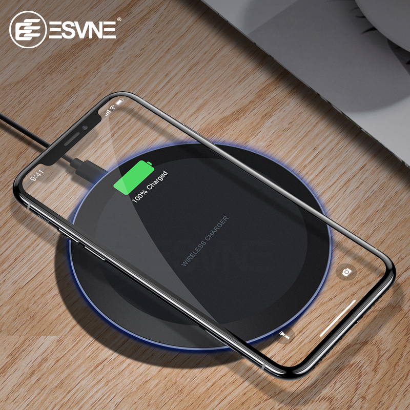 Chargeur sans fil ESVNE 5 W Qi pour iPhone X Xs MAX XR 8 plus charge rapide pour Samsung S8 S9 Plus Note 9 8 chargeur de téléphone USB