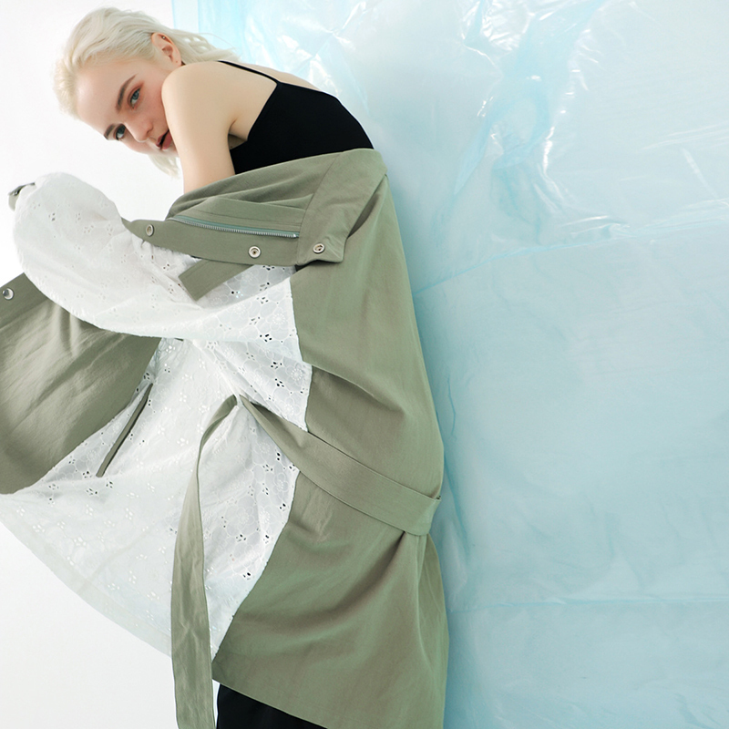 [EAM] 19 New Spring Stand Collar Long Sleeve Back Lace Split Joint Large Size Jacket Women Coat Fashion TideJK291 6