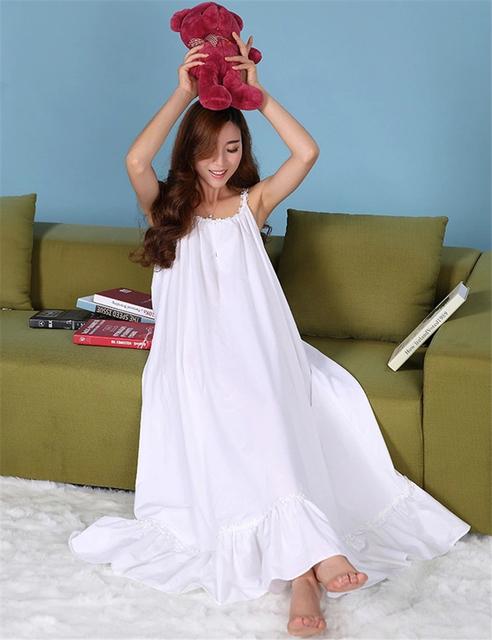 Rosa / branco princesa Nightgowns pijamas de algodão camisola solta camisola do Vintage verão 2016