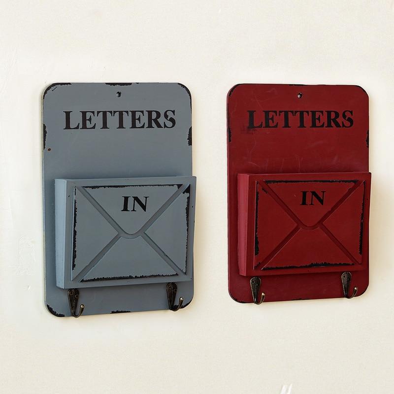 Carta de la vendimia Caja de Madera Colgante de Pared Gancho de - Organización y almacenamiento en la casa