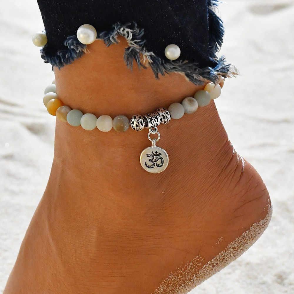 OTOKY קרסול בוהמי חרוזים אבן Anklets נשים בציר ארוג תליון צמיד על רגל עכס חוף קרסול תכשיטי מתנה 19May25