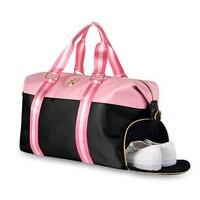 New Women Organiser Travel Bag Waterproof Polyester Duffle Bag lady Weekender Hand Luggage Pink Travelling Shoulder Bags