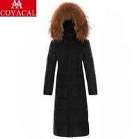 Down Coat Women Winter Long Designed Jacket Girls Natural Raccoon Dog Fur Collar Girl Slim Down Jacket Lady Black 2XL