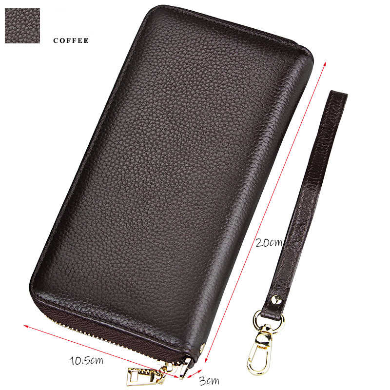 HMILY Frauen Brieftasche Aus Echtem Leder Handtasche Mode Weibliche Lange Geldbörse Geld Tasche Echt Cowksin Kreditkarte Damen Candy Farbe