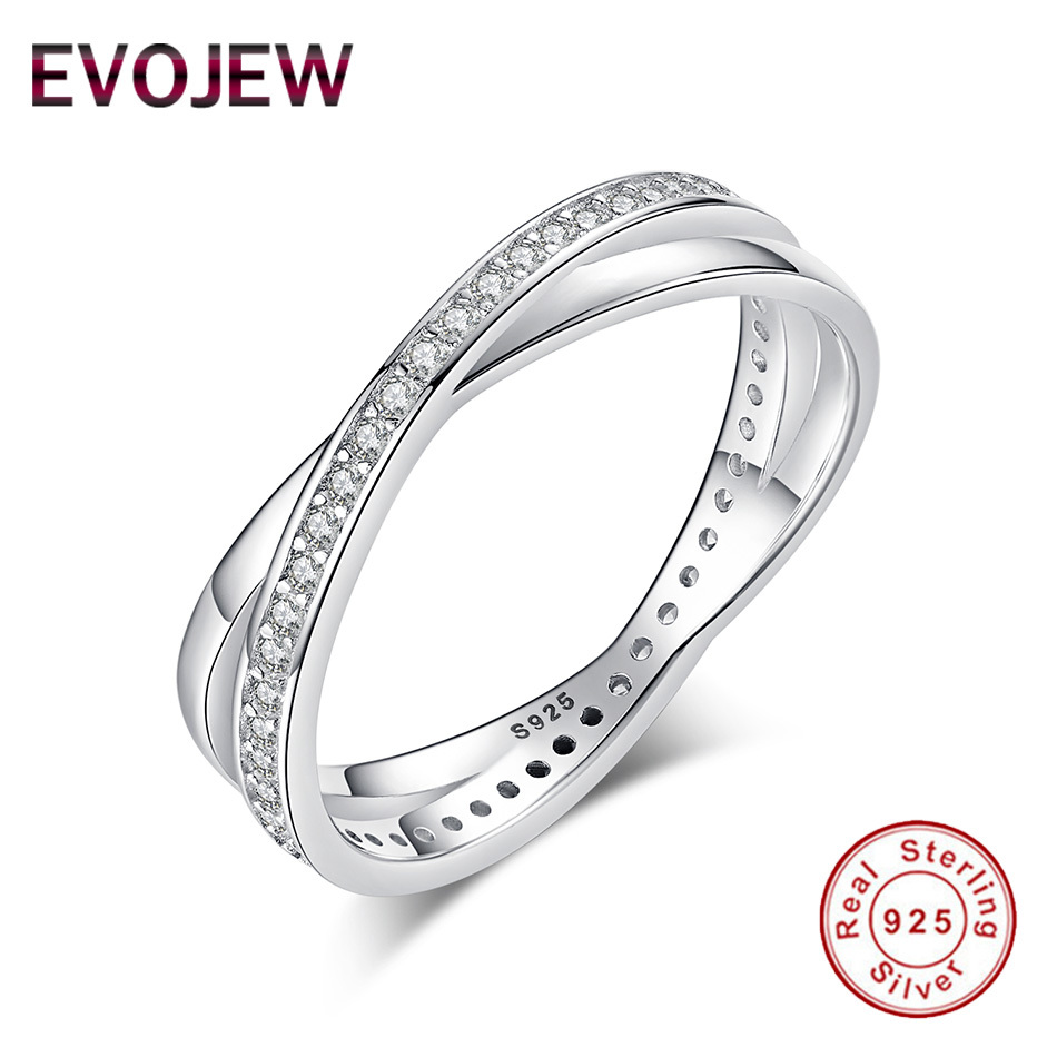 EVOJEW Classic Cross Finger Rings with Sparking CZ Crystal For Women Girl Wedding Luxury 925 Sterling Silver Jewelry Accessories ...