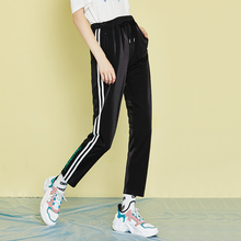 Toyouth Women Hit Color Casual Pants Striped Drawstring Ankle-length Harem Summer Trousers Female