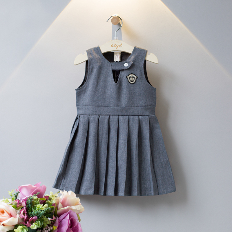 Fashion Vest dress for Girl 2018 Cute Preppy Style Dress Gray Sleeveless Overalls Princess Dress Kids Uniform Clothes for School 2016 new girls clothes 100% cotton cute pink gray lace dress for the girl princess dress art bowknot sleeveless dress