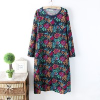 Vintage Handmade Buttons Green Flowers Full Leaves Print Long Sleeve Linen Ultra Long Dress Female