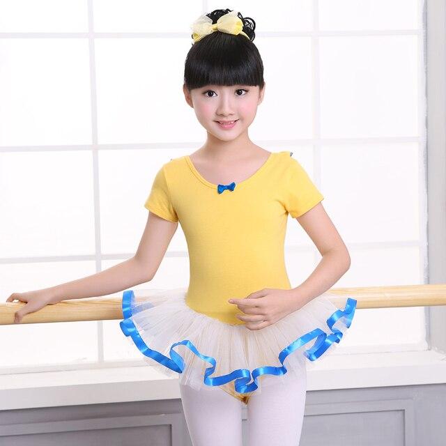 72383c8f1fff Girls Toddler Ballet Leotards Tutu Dress Yellow Kids Cotton Ballet ...