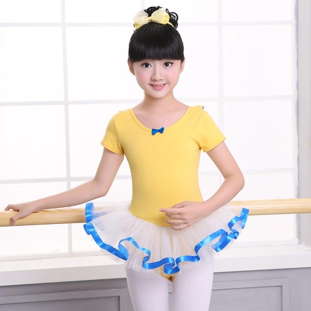 0c2f1c95feb8 Girls Toddler Ballet Leotards Tutu Dress Yellow Kids Cotton Ballet ...