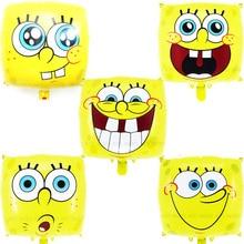 5pcs/lot Spongebob birthday balloons smile expression 18in spongebob helium classic toys for children party
