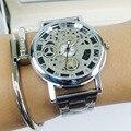 Diseño de moda de Los Hombres Casual Relojes de Lujo Esqueleto de Acero Inoxidable Reloj de Cuarzo Hombres de Acero Hueco Fresco Reloj de pulsera de Moda reloj