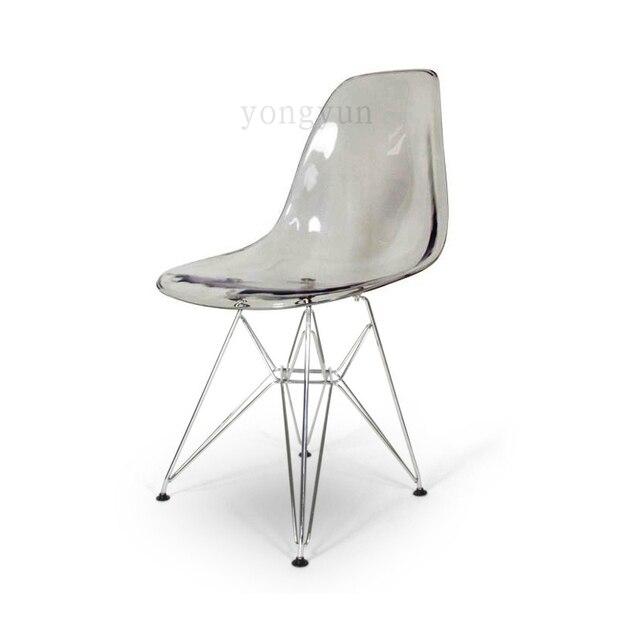 Acrylic Transparent Plastic Chair Cafe Leisure Minimalist Modern Chromed  Steel Leg Colored Restaurant Moderne Stoel Dining