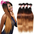 1B/4/27# Ombre Hair Extensions 7A Peruvian Straight Virgin Hair 4 Piece Peruvian Virgin Hair Straight Ombre Human Hair Weave