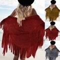 Mulheres Camurça Borla Cardigan Kimono Topos de Vaivém Capes Pashmina Falso Boho Geométrica Cover Up Envoltório do Xaile Do Lenço Com Franjas