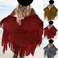 Women Suede Tassel Cardigan Kimono Capes Batwing Tops Pashmina Faux Boho Geometric Cover Up Shawl Wrap Fringed Scarf