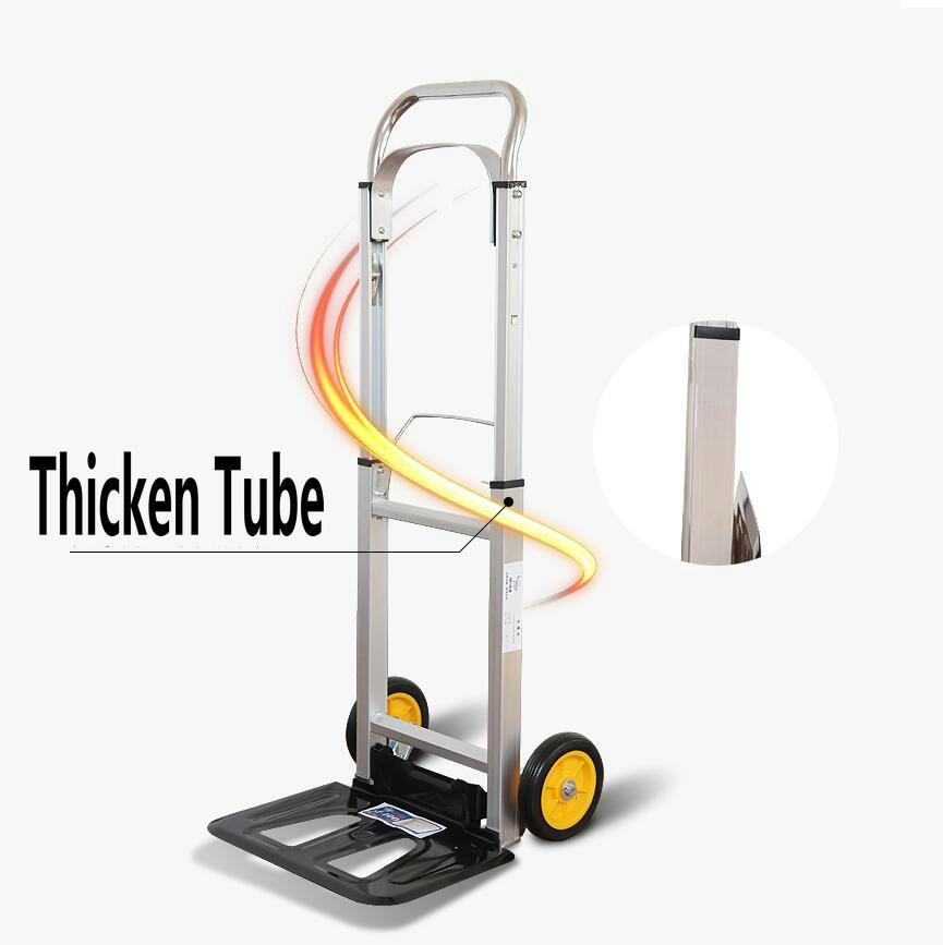 HQ TT01 100KGS robuste pliable chariot à main camion en Aluminium chariot à main entrepôt roue brouette Lifter avec roulettes PU - 3