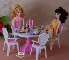 Doll furniture for barbie doll 1/6  candlelight dining table dining room furniture accessories play set girls toys