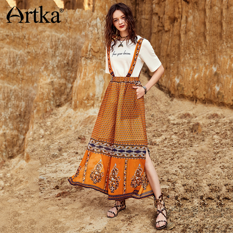 ARTKA 2018 Summer New Women Bohemian Holiday Split Print Elastic Waist Overalls Casual   Wide     Leg     Pants   KA10680X