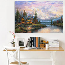HD Print Landscape Oil Painting on Canvas Cathedral Mountain Lodge by Thomas Kinkade Modern Wall Picture for Living Room Cuadros(China)