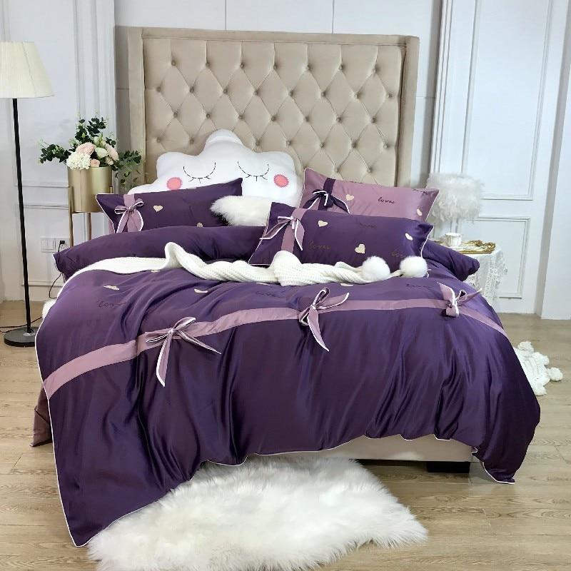 Blanco púrpura King size Queen ropa de cama juego de edredón de satén funda de cama de algodón sábana ajustada edredón funda de almohada parure de lit-in Juegos de ropa de cama from Hogar y Mascotas    1