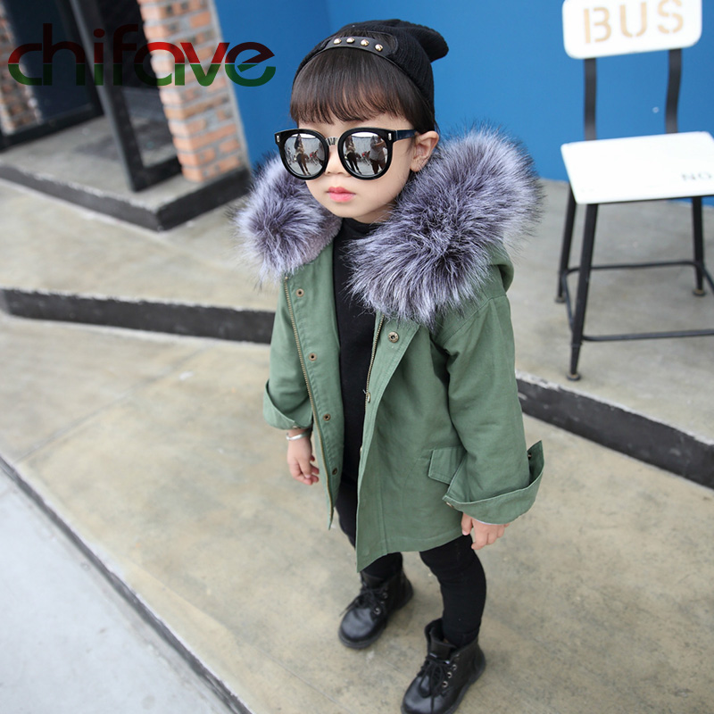 chifave New Winter Children Warm Cotton Coat Suit for Unisex Kids Hooded Fur Collar Zipper Thick Outerwear Baby Boys Girls Parka