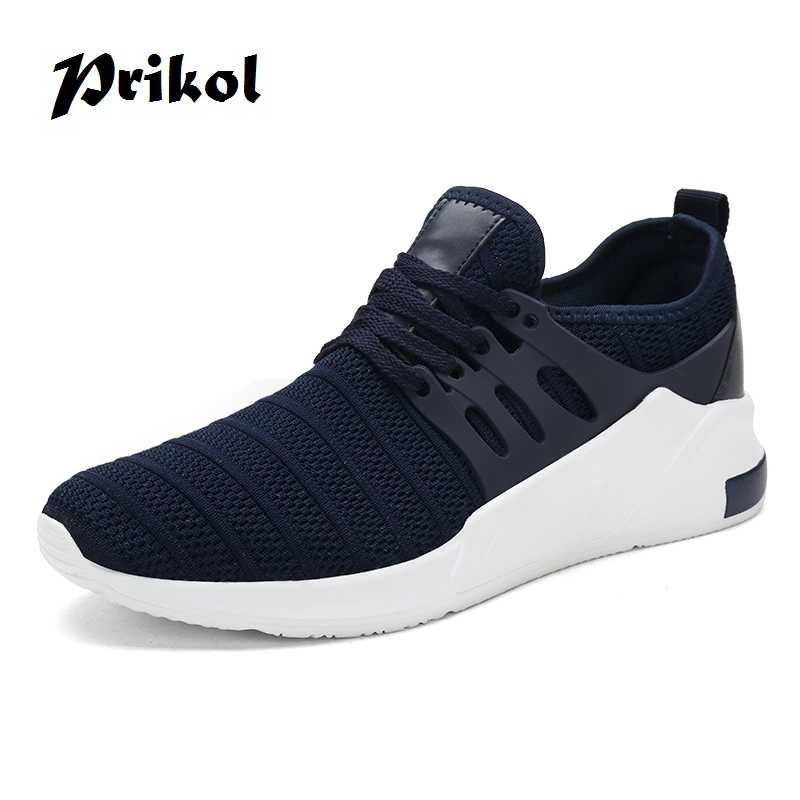 Prikol Luxury Brand Summer Men Sport Shoes Breathable Sneakers Athletic Black Blue Grey Leather Tennis Shoes Soft Cool Outdoor