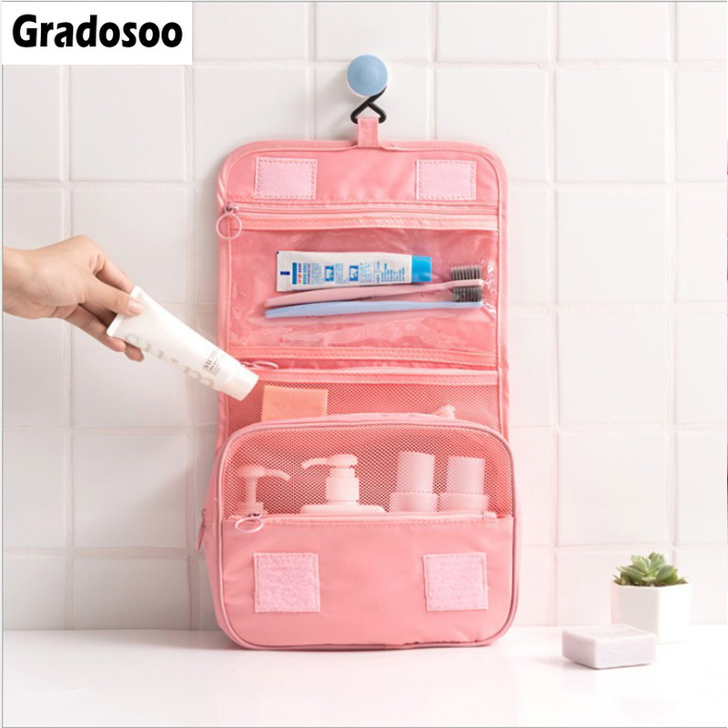 Gradosoo Hanging Makeup Bag Women Travel Organizer Storage Female Cosmetic Bags Toiletry Bag Cute Makeup Pouch Wash Bags LBF588