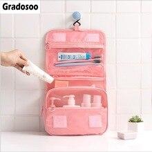 Gradosoo Hanging Makeup Bag Women Travel Organizer Storage Female Cosmetic Bags Toiletry Cute Pouch Wash LBF588