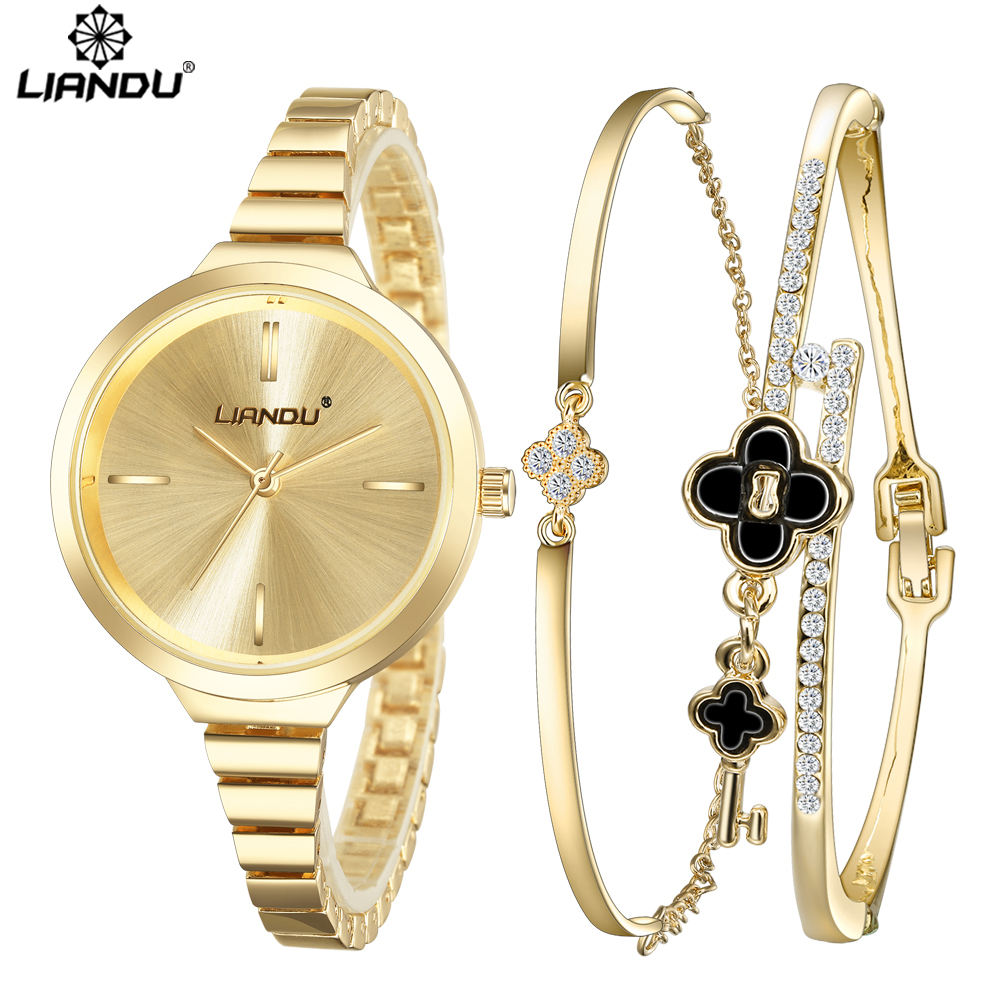 LIANDU Brand Luxury Crystal Gold Watch Women Bracelet Jewelry Set Ladies Analog Clock Quartz Wrist Watch Relojes Mujer women bracelet watch famous brand ladies faux leather analog quartz wrist watch clock women relojes mujer hot selling